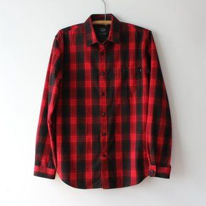 DJAB Plaid Black and Red Button Up Flannel Shirt